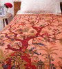 Uttam Orange Cotton Nature & Florals 84 x 54 Inch Bed Sheet