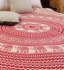Uttam Square Elephant Batik Print Red Cotton 90 x 83 Inch Bed Sheet