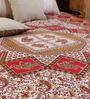 Uttam Square Elephant Handlook Print Red Cotton 90 x 83 Inch Bedsheet