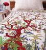 Uttam White Cotton Nature & Florals 84 x 54 Inch Bedsheet