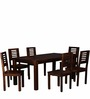 Oregon Solid Wood Six Seater Dining Set in Provincial Teak Finish by Woodsworth