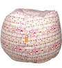 Printed Filled Bean Bag in Cream Colour by Orka