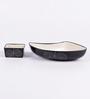 VarEesha Black Ceramic Snack 2-piece Platter Set