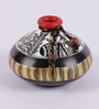 VarEesha Madhubani Black, Gold and White 2-piece Terracotta Pot Set