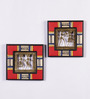 VarEesha Red & Gold Wooden Handcrafted Wall Hanging Set - Set of 2