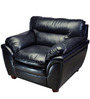 Vega Leatherite One Seater Sofa in Black Colour by HomeTown