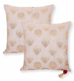 Vista Beige Cotton And Polyester 18 X 18 Inch Foil Print Cushion Cover - Set Of 2