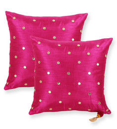 Vista Dark Pink Polyester 18 X 18 Inch With Stone Cushion Cover - Set Of 2