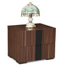 Victor Bedside Table in Cairo Walnut & Black Colour by Crystal Furnitech
