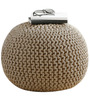Victor Cotton Knitted Pouffe in Beige Colour by Purplewood