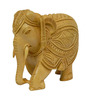 Vyom Shop Wooden 7 x 4 x 6 Inch Carved Elephant Showpiece