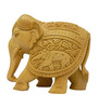 Vyom Shop Wooden Carved Elephant Showpiece