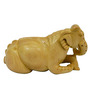 Vyom Shop Brown Wooden Sitting Elephant Showpiece