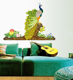 WallTola PVC Vinyl Colorful Decorative Peacock Wall Sticker