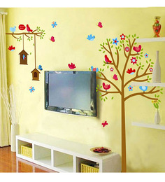 WallTola PVC Vinyl Sweet Birds & Nest Tress Wall Sticker