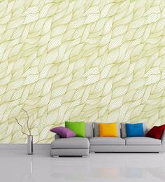 Wallskin Green Non Woven Paper Seamless Wavy Pattern Wallpaper