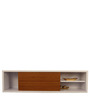 Wall Shelf with Sliding Door in White Colour by Afydecor