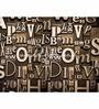 Wallskin Brown Non Woven Paper Words Wallpaper
