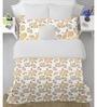 Welhome Orange Cotton Queen Size Snapshot Bedsheet - Set of 3