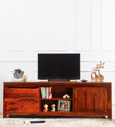 Winona Entertainment Unit In Honey Oak Finish By Woodsworth