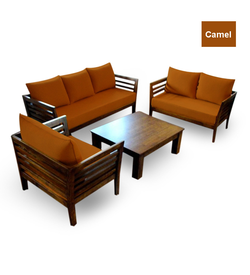 Wooden Sofa Set 3 2 1 Seater Coffee Table By Furny Online Sofa Sets Furniture