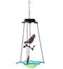 Wonderland Hanging Metal Bird Feeder with Blue Glass Flower Base
