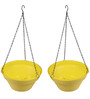 Wonderland Set of 2 : Hanging Railing Planter with Metal Chain in Yellow