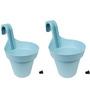 Wonderland Set of 2 : Railing Buckets in Blue