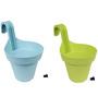 Wonderland Set of 2 : Railing Buckets in Green & Blue
