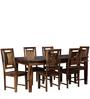 Woodway Six Seater Dining Set with Glass in Provincial Teak Finish by Woodsworth