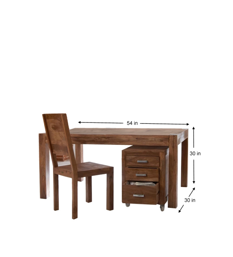 Cinnamon Writing Desk Set With Chair And Drawer Cabinet By