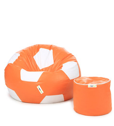 XL Orange & White Football Bean Bag & Puffy Filled With Beans (Set Of 2)by Can