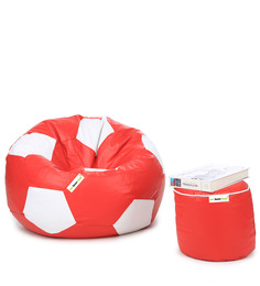 XL Football Bean Bag & Round Puffy  Filled With Beans (Set Of 2) In Red & White Colour By Can