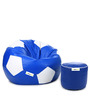 XL Blue & White Football Bean Bag & Puffy Cover without Beans (Set of 2)by Can