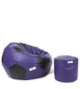XL Purple & Black Football Bean Bag & Puffy Cover without Beans (Set of 2)by Can