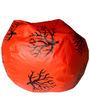 XXL Printed Bean Bag in Black & Orange Leatherette by TJAR