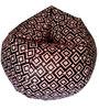 XXL Printed Bean Bag in Brown & Peach Leatherette by TJAR