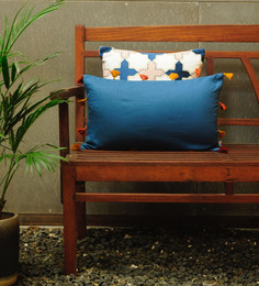 Yamini Blue Cotton 20 X 12 Inch Plain With Tassels Cushion Cover