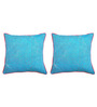 Yamini Blue & Pink Cotton 16 x 16 Inch Cushion Cover - Set of 2