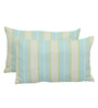 Yamini Light Blue Cotton 20 x 12 Inch Yarn Dyed Stripes with Knife Edge Cushion Cover