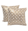 Yamini Off White & Gold Cotton 12 x 12 Inch Diamond Beads Embroidered Cushion Cover