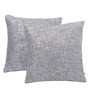 Yamini Silver Cotton 16 x 16 Inch Fancy Yarn Cushion with Foil Print Cushion Cover