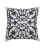 Yamini White & Navy Blue Cotton 12 x 12 Inch Abstract Embroidered Cushion Cover