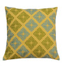 Yamini Yellow & Green Cotton 12 x 12 Inch Mosaic Embroidered Cushion Cover