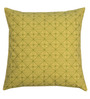 Yamini Yellow & Green Cotton 16 x 16 Inch Checker Board Embroidered Cushion Cover