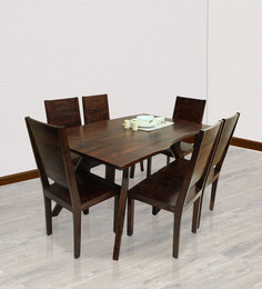 Zagreb Six Seater Dining Set In Dark Walnut Finish By The ArmChair