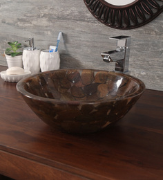 Zahab Round Mica Slate Pebbles Brown Mother Of Pearl Wash Basin (Model: S1-33)