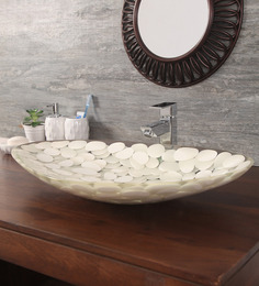 Zahab Triangular Pebbles White Resin Wash Basin (Model: P15-01)