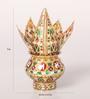 Zahab Multicolour Stainless Steel Flower Design Meenakari Coconut Kalash Set