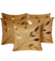 Zikrak Exim Leaves Patch Beige Cushion Covers (Set Of 5)